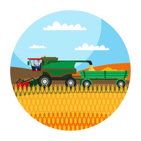 Combine harvester working in field illustration