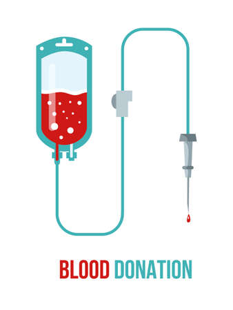 Blood donation poster flat vector template