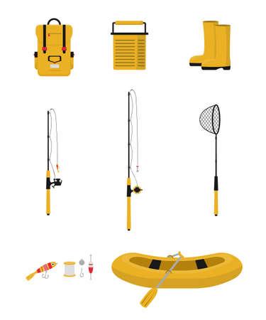 Fishing items flat vector illustrations set