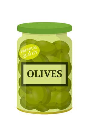 Green olives in glass jar flat vector illustration Ilustração