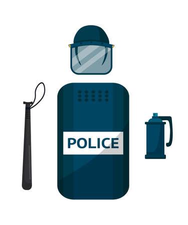 Police riot gear flat vector illustration