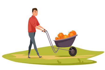 Man transporting pumpkins flat vector illustration
