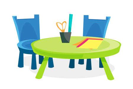 Children furniture flat vector illustration Ilustração