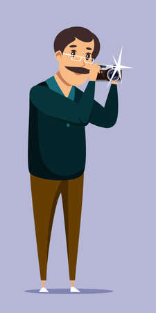 Amateur photographer flat vector illustration