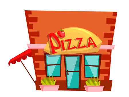 Pizzeria building flat vector illustration