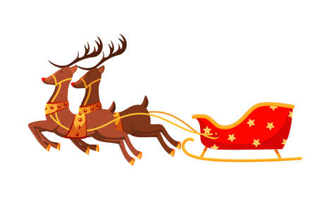 Santa claus sleigh flat vector illustration