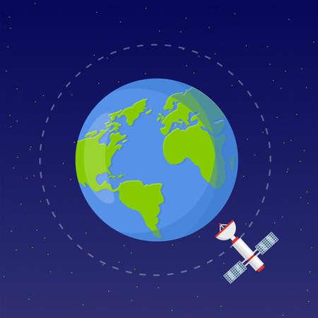 Space exploration flat vector illustration