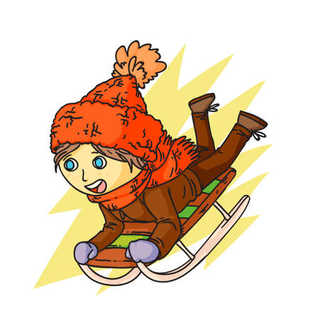 Winter sledding, fun flat vector illustration. Little girl in warm clothing cartoon character. Happy child moves down hill. Seasonal outdoor activity, childhood pastime. Active recreation.