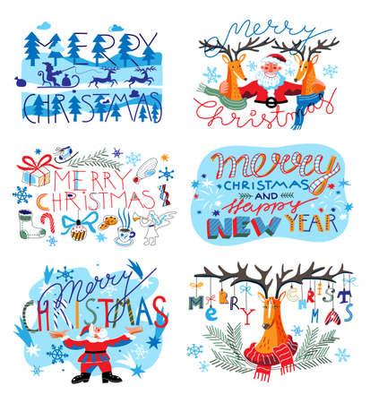 Merry Christmas and happy New Year cartoon set Ilustração