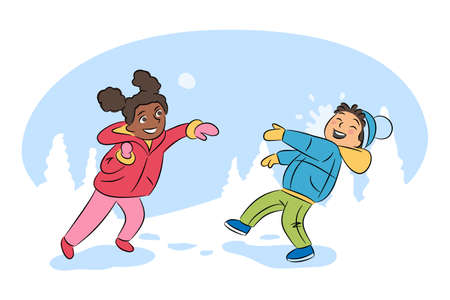 Children playing snowballs cartoon illustration. Kids having fun. Boy and girl throwing snowballs vector characters. Winter entertainment, outdoor activity, leisure, active rest concept.