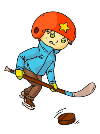 Hockey player with club and puck illustration. Shinnying little boy cartoon character isolated on white background. Child playing hockey, kid athlete on ice rink. Winter sport concept. Ilustração