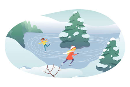 Little girls skating flat vector illustration. Cheerful children in warm clothes cartoon characters. Happy childhood, outdoor leisure. Winter holidays, Smiling kids on ice rink, active recreation. Ilustração