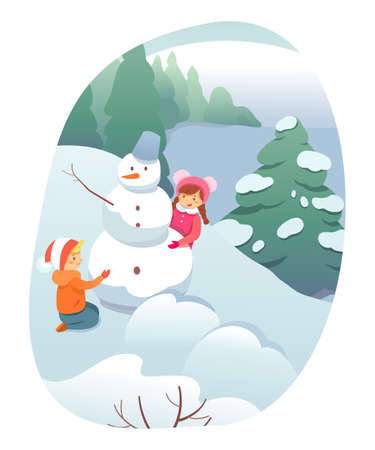 Winter outdoor recreation flat illustration. Wintertime games and leisure activity for kids isolated clipart. Children cartoon characters building snowman, playing in snow design element.