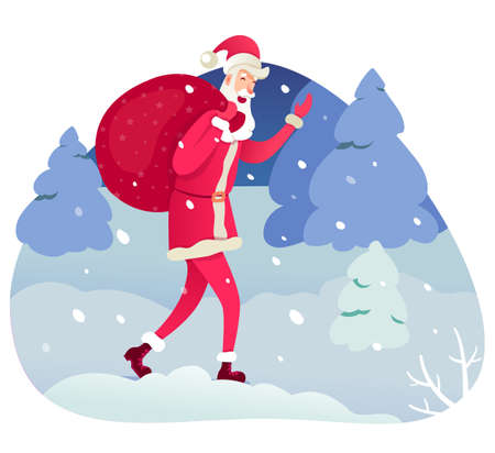 Santa Claus carrying sack flat vector illustration. Xmas, New Year holiday design element. Santa cartoon character on winter landscape. Fairy-tale Father Frost isolated on forest background.