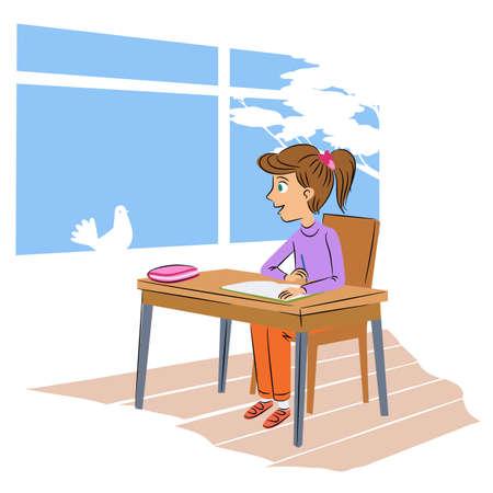 Schoolgirl at desk flat vector illustration