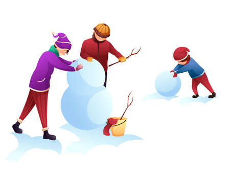Winter outdoor recreation flat illustration. Wintertime games and leisure activity for kids isolated clip art. Children cartoon characters building snowman, playing in snow design element.