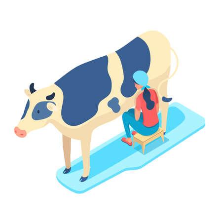 Woman milking cow isometric vector illustration Ilustração