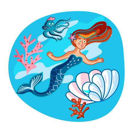 Mermaid swimming with fish flat illustration