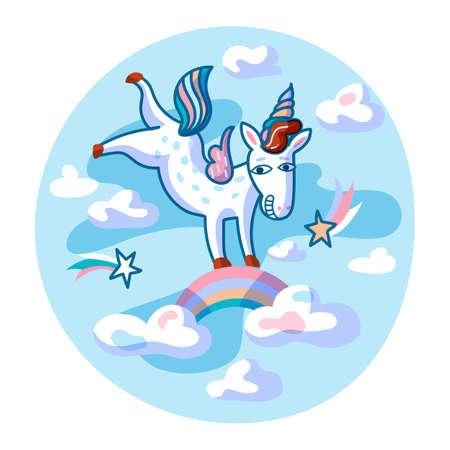 Unicorn jumping flat vector illustration