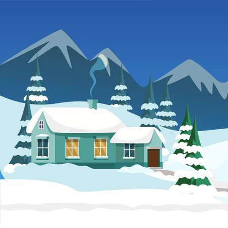 Village house exterior flat illustration