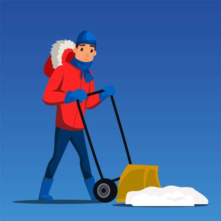 Man removing snow flat illustration