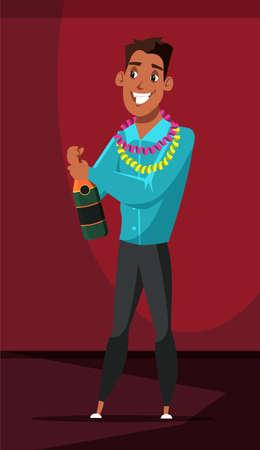 Man opening champagne bottle flat illustration