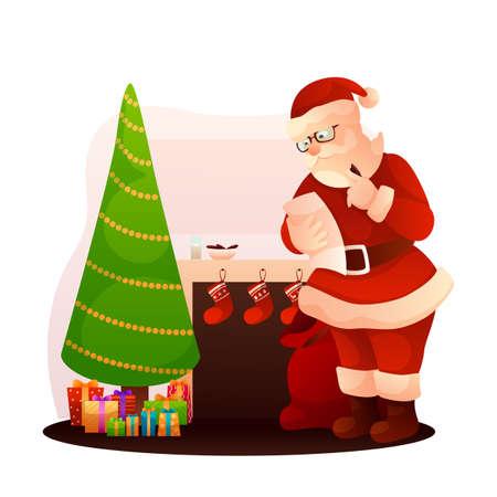 Santa Claus checking gift list flat illustration Ilustração
