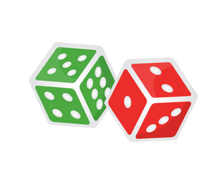 Two gaming dices isometric illustration