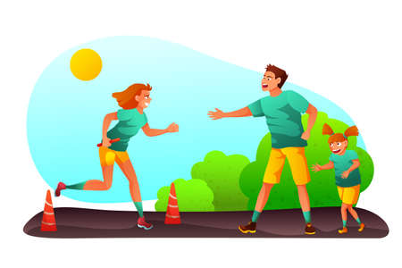 Family competition event vector illustration Illustration