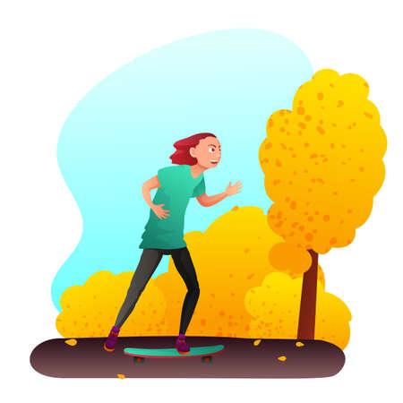 Teenager on skateboard flat vector illustration