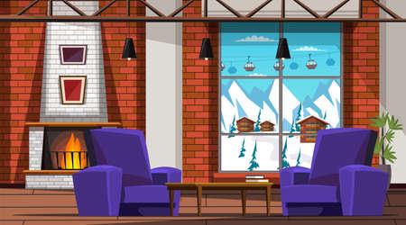 Ski resort hotel room interior vector illustration