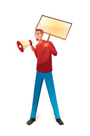 Activist with loudspeaker flat vector illustration Ilustração