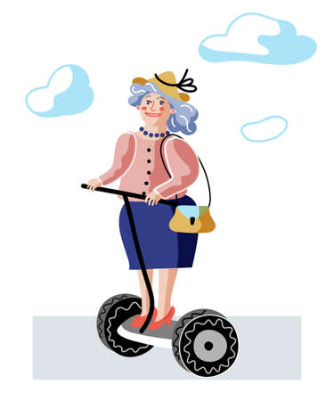 Old lady on drive flat vector illustration Ilustração