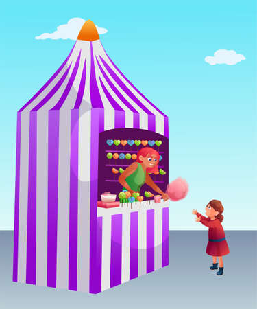Girl buying cotton candy flat vector illustration