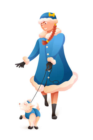 Girl in Snow Maiden costume leading dog on white
