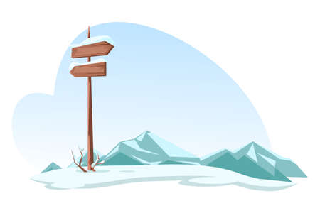 Snowed mountains and signboard on highlands road