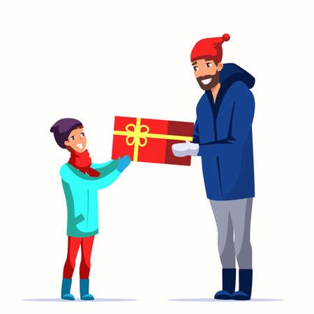 Father giving gift to son flat vector characters