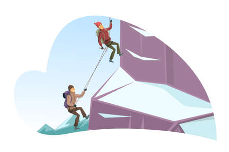 Man and woman climbing up cliff covered with snow