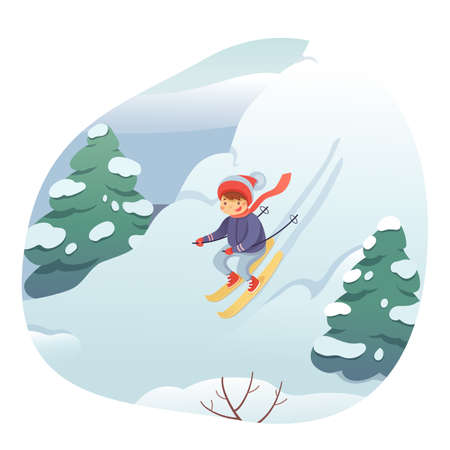 Little child skiing flat vector illustration. Smiling kid in warm clothes cartoon character.