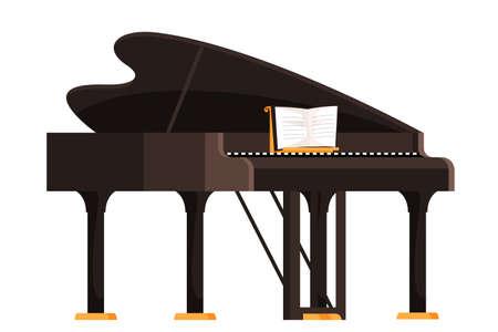 Brown grand piano flat vector illustration