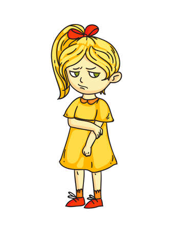 Angry sad mad moody cartoon child character. Negative kid emotion, bad behavior. Girl do not talk after quarrel. Conflict. Relationship and friendship. Vector cutout flat illustration