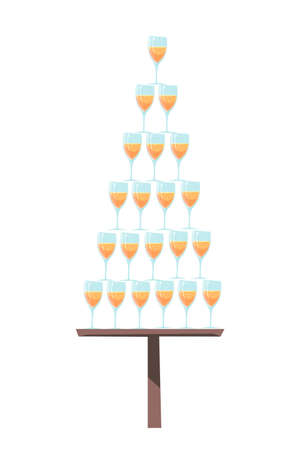 Wineglass with alcoholic drinks pyramid on tray