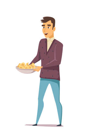 Man with snacks in plate flat character. Young caucasian guy holding bowl with potato crisps isolated on white background. Guy in casual clothes carrying meal. Male character at lunch break, dinner  イラスト・ベクター素材