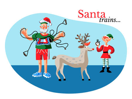 Santa exercising banner color template