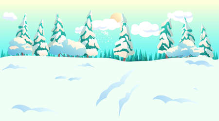 Snowy forest with spruce trees cartoon landscape. Merry christmas, happy new year. Sunny frosty day in winter. Cloudy sky and nature. Holiday and vacation. Banner layout. Vector flat illustration