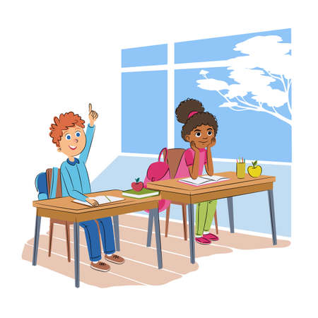Children in classroom flat vector illustration. Schoolboy and schoolgirl in uniform cartoon characters. Diligent elementary school pupils, exemplary students. Classmates at lesson, boy raising hand