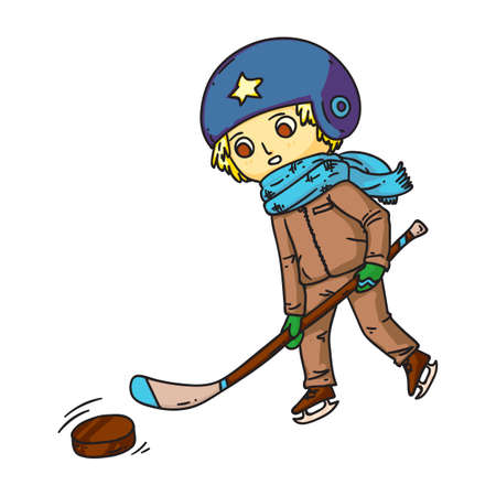 Hockey player with club and puck illustration. Shinnying little boy cartoon character isolated on white background. Child playing hockey, kid athlete on ice rink. Winter sport concept