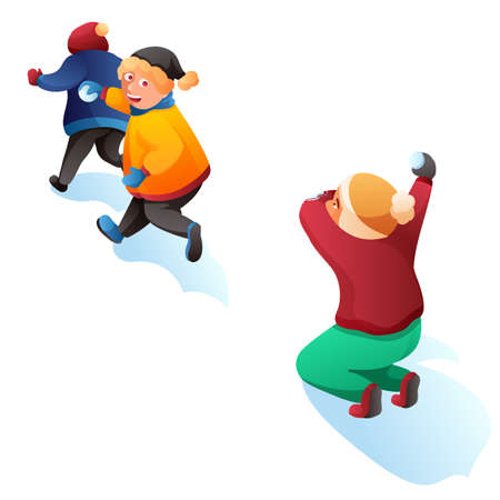 Children playing snowballs cartoon illustration. Kids having fun. Boy and girl throwing snowballs vector characters. Winter entertainment, outdoor activity, leisure, active rest concept Illusztráció