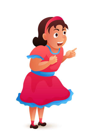 Surprised and admired little girl in pink dress. Pretty cute small female standing isolated on white backdrop. Happy cartoon character watching amusement performance. Vector flat illustration Ilustração
