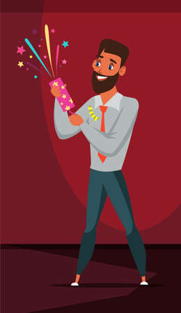 Man with festive cracker flat vector illustration. Person holding party supply, accessory. Corporate worker, office employee cartoon character celebrating holiday. New Year, Christmas celebration  イラスト・ベクター素材